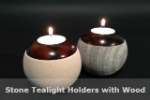 Stone Tealight Holder with Wood